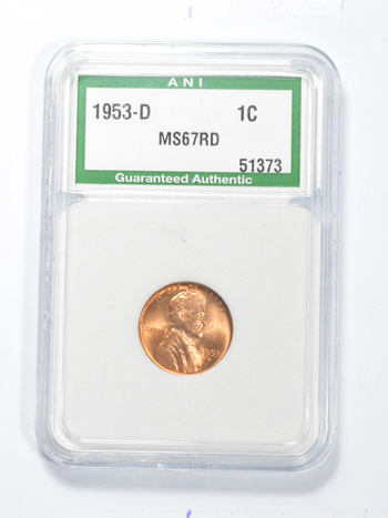 *** MS67 RD 1953-D Lincoln Wheat Cent - Slabbed ANI