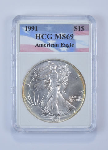 *** MS69 1991 American Silver Eagle - Graded HCG