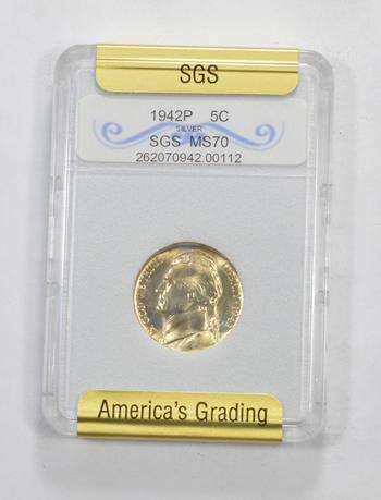 *** MS70 1942-P Jefferson Silver Nickel - Graded SGS