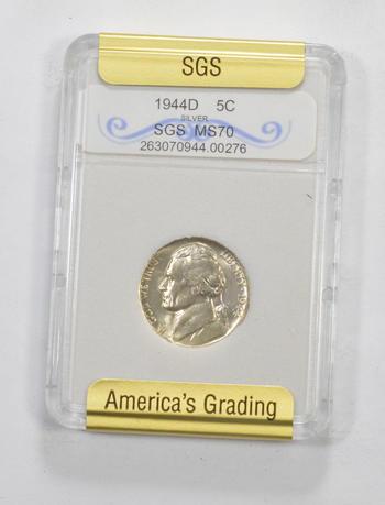 *** MS70 1944-D Jefferson Silver Nickel - Graded SGS