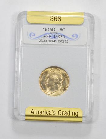 *** MS70 1945-D Jefferson Silver Nickel - Graded SGS
