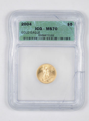 *** MS70 2004 $5.00 1/10 Oz. Gold Eagle - Graded ICG