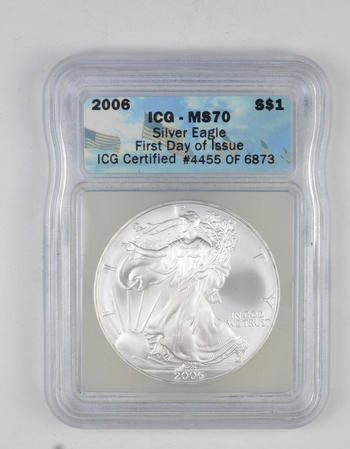 *** MS70 2006 American Silver Eagle - First Day Of Issue - Graded ICG