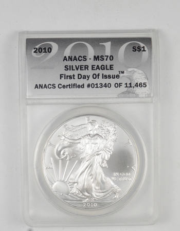 *** MS70 2010 American Silver Eagle - First Day Of Issue - Graded ANACS