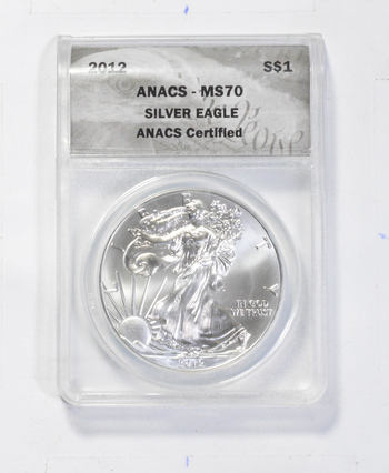*** MS70 2012 American Silver Eagle - Graded ANACS - Fancy Display Holder