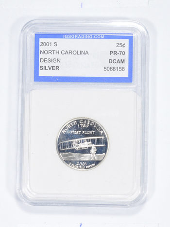 *** PR70 DCAM 2001-S North Carolina Silver State Quarter - Graded IGS