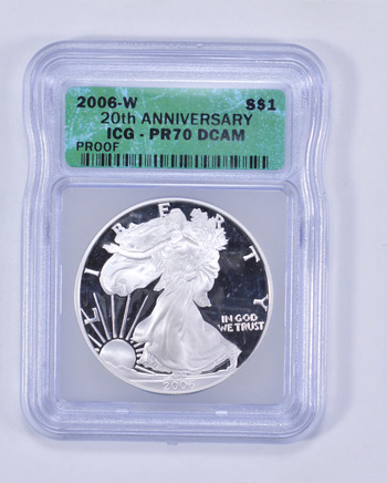 *** PR70 DCAM 2006-W American Silver Eagle - 20th Anniversary - Graded ICG
