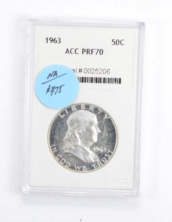 *** PRF70 1963 Franklin Half Dollar - Graded ACC