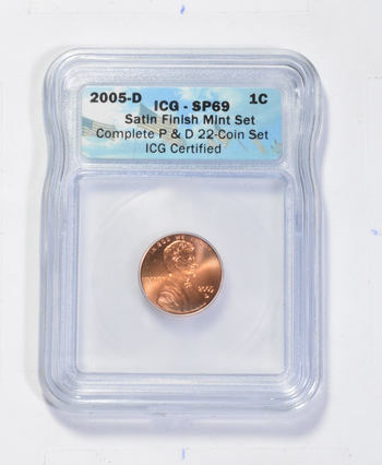 *** SP69 2005-D Lincoln Memorial Cent - Satin Finish - Graded ICG - Fancy Display Holder