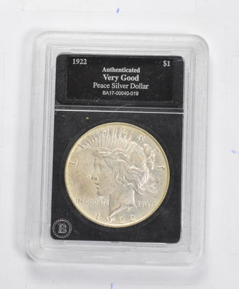 *** VG 1922 Peace Silver Dollar - Authenticated - Fancy Display Holder