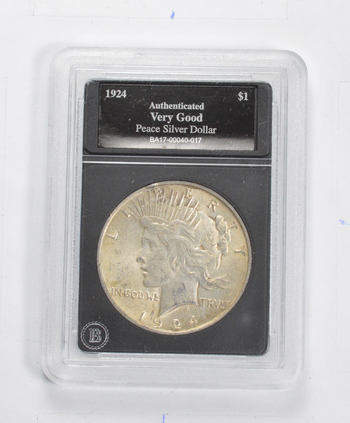 *** VG 1924 Peace Silver Dollar - Authenticated - Fancy Display Holder
