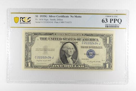 $1 1935-G Silver Certificate PCGS 63 PPQ Choice UNC , Fr #1916 - No Motto