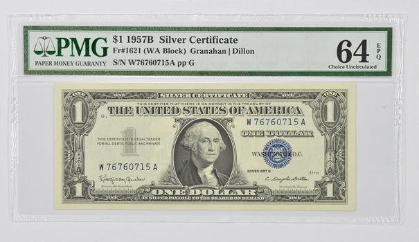 $1 1957 B Silver Cert. PCGS 65 PPQ Gem New, Fr # 1621(WA Block) Granahan/Dillon