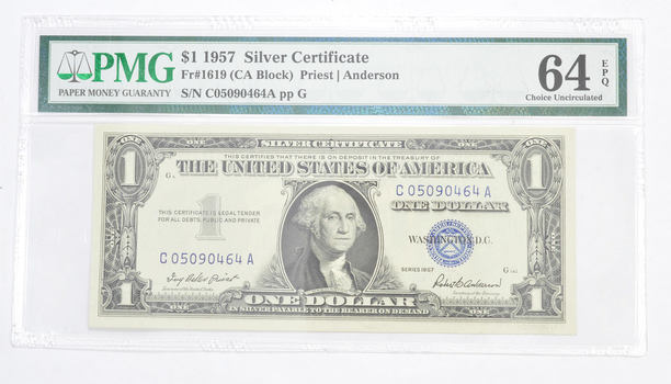 $1 1957 Silver Certificate PMG 64 EPQ Gem New, Fr# 1619 (CA Block)