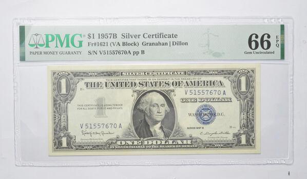$1 1957-B Silver Certificate PMG 66 EPQ Gem New, Fr # 1621 (VA Block)