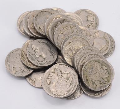 1 Roll (40 Coins) of NO Date Buffalo Nickels (1913-38 Era)