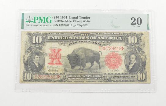 $10 1901 Legal Tender Buffalo PMG 20 Very Fine, Fr # 121m Mule - Elliott/White