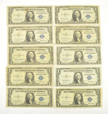 10 x 1935 $1.00 Silver Certificate Dollar Bills - Blue Seal! -Ten Notes Total