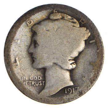 100 Years OLD 1917 Mercury Liberty 90% Silver United States Dime