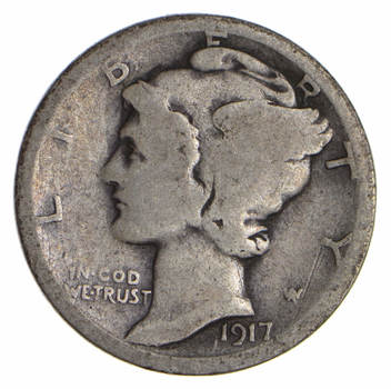 100 Years OLD 1917-S Mercury Liberty 90% Silver United States Dime