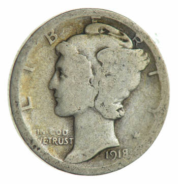 100 Years OLD 1918-D Mercury Liberty 90% Silver United States Dime