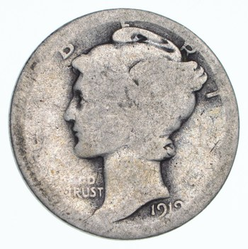100 Years OLD 1919 Mercury Liberty 90% Silver United States Dime