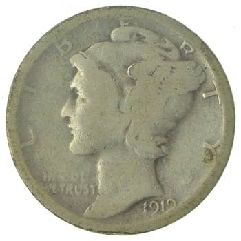 100 Years OLD 1919-S Mercury Liberty 90% Silver United States Dime