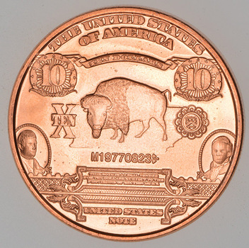 $10.00 Bison Note - Currency Tribute Series - 1 Oz .999 Fine Copper Round