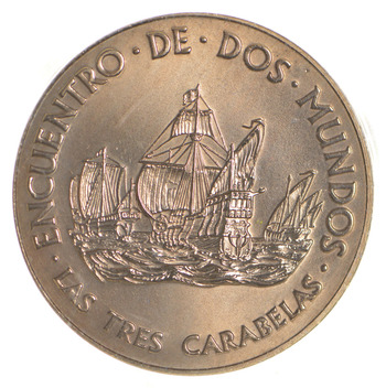 1492-1992 Spain's 500 Years Columbus Gold Plated Copper Medal - Qvinto Centenario
