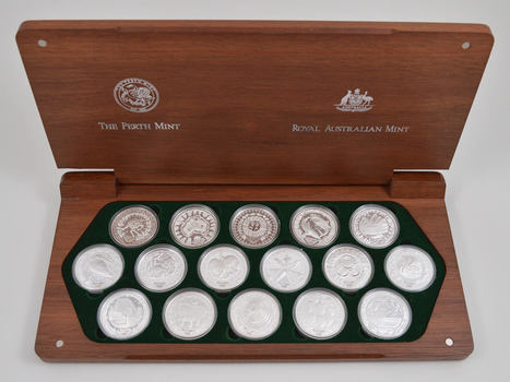 16 Coins Sydney 2000 Olympic Silver Coin Collection w/ COA & Box