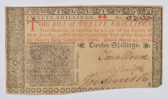 1776 12 Shillings New Jersey Colonial Currency Note - March 25th NJ-179