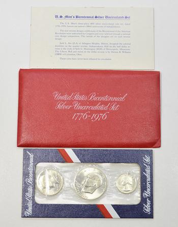 1776-1976-S Bicentennial 3 Piece 40% Silver Uncirculated Mint Set - SILVER Tough