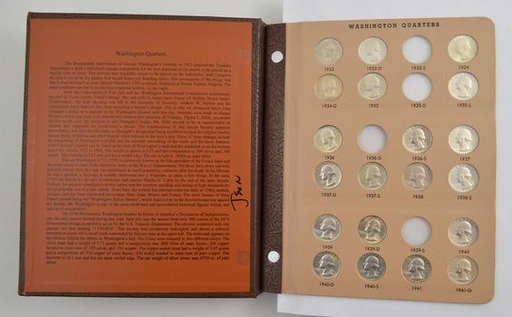 178 Coins - 1932-1998 Washington Quarters Album Partial Set