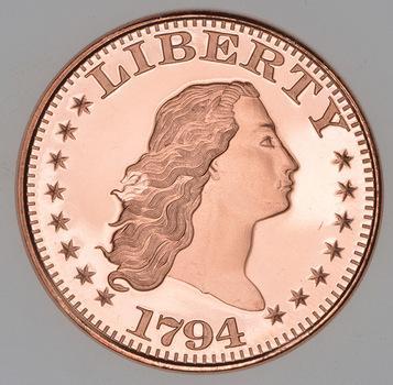 1795 Flowing Hair Dollar - Tribute Series - 1 Oz .999 Fine Copper Round
