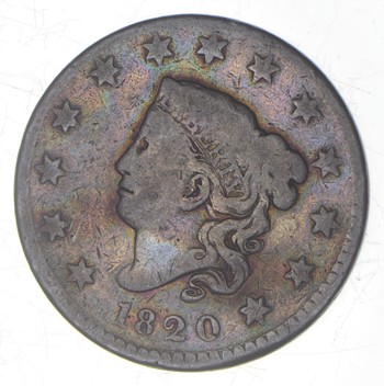 1820 Matron Head Large Cent - Small Date