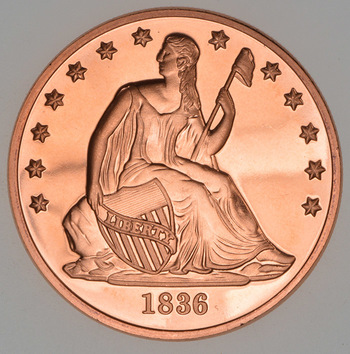 1836 Seated Liberty Dollar - Tribute Series - 1 Oz .999 Fine Copper Round