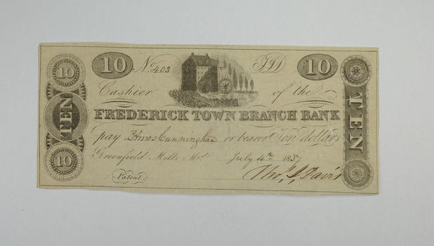 1837 $10.00 Greenfield Mills MD Frederick Town Branch Bank Note