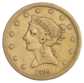 1839 $5.00 Liberty Head Gold Half Eagle