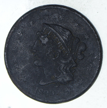 1839 Braided Hair Large Cent - Circulated