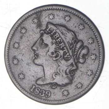 1839 Young Head Large Cent - Booby Head