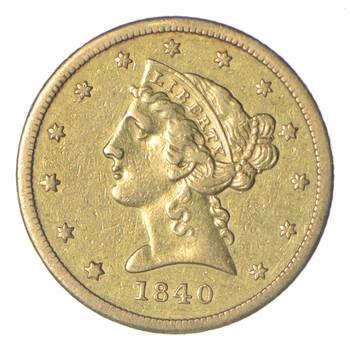1840 $5.00 Liberty Head Gold Half Eagle - Near Uncirculated