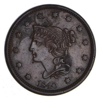 1840 Braided Hair Large Cent - Sharp