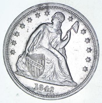 1842 Seated Liberty Silver Dollar - Choice