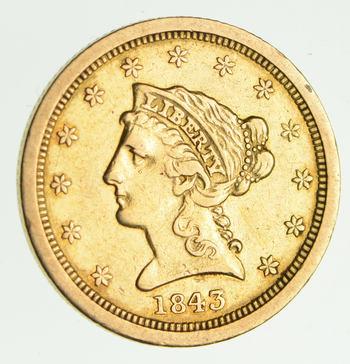 1843-O $2.50 Liberty Head Gold Quarter Eagle - Circulated