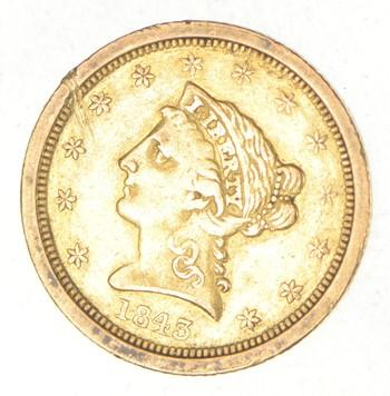 1843-O $2.50 Liberty Head Gold Quarter Eagle - Small Date