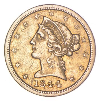 1844-O $5.00 Liberty Head Gold Half Eagle