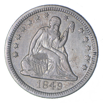 1849 Seated Liberty Silver Quarter - Near Uncirculated