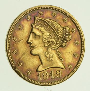 1849-C $5.00 Liberty Head Gold Half Eagle - Circulated