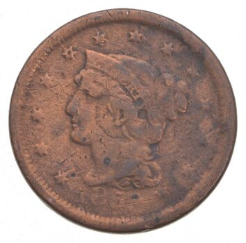1851 Braided Hair Large Cent - Jacobs Coin Collection