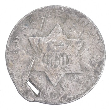 1852 Silver Three-Cent Piece - Trime - HOLED - Sannes Coin Collection